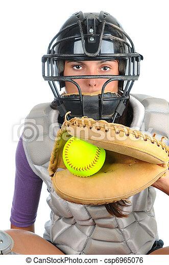 Female Softball Catcher - csp6965076