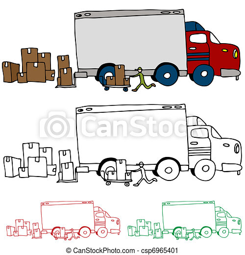 Moving Truck Profile View - csp6965401