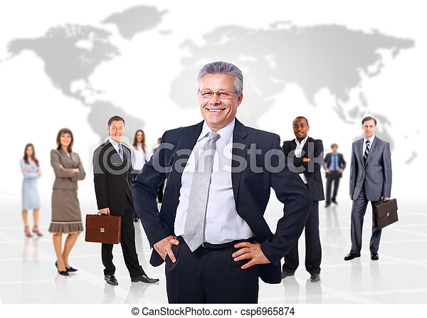 business man and his team isolated over a white backgroun  - csp6965874