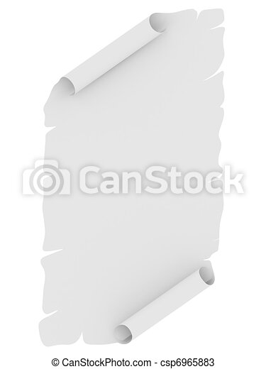 Blank sheet of paper with uneven edges - csp6965883