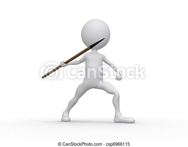 Javelin throwing (3d on white background sports characters series) 