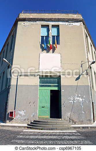 municipal house with flags of Sicily, Italy, EU