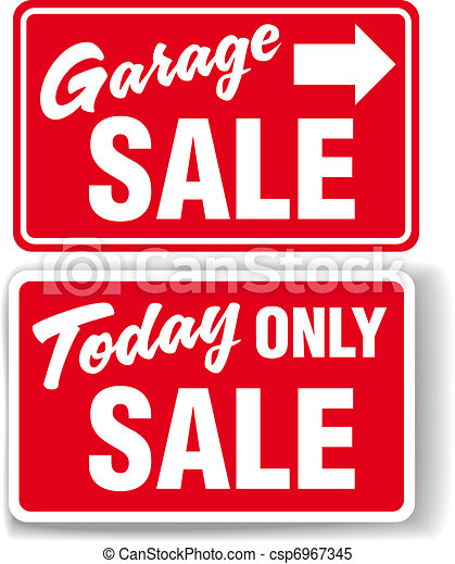 Garage arrow Today ONLY SALE sign - csp6967345