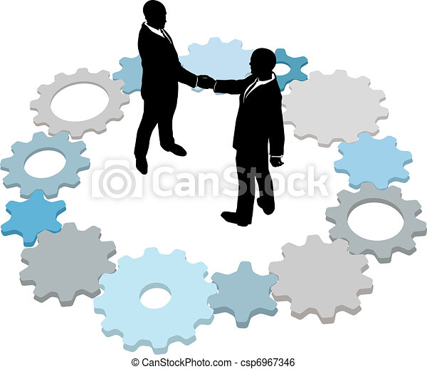 Technology business people deal gears - csp6967346