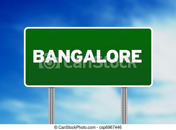 Green Road Sign - Bangalore - csp6967446
