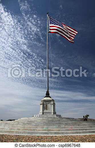 American Flag at National Cemetery - csp6967648