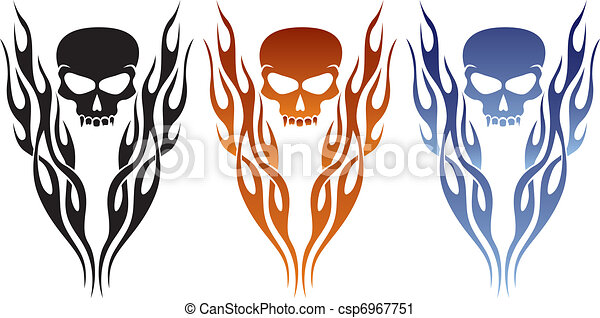 Flame and Skull Tattoo - csp6967751