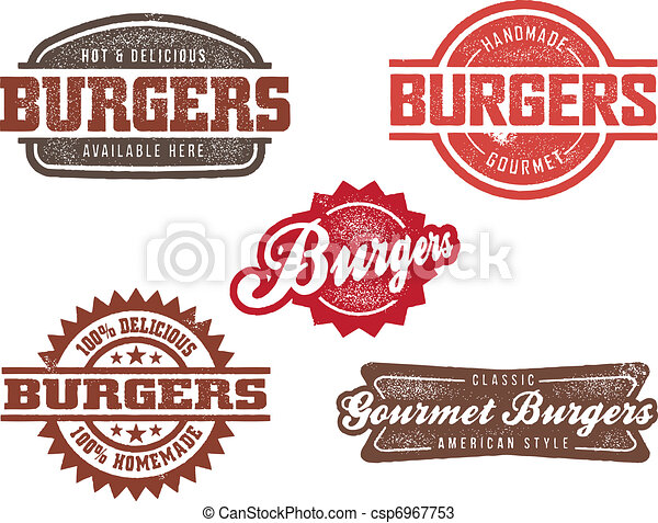 Classic Style Burger Stamps - csp6967753