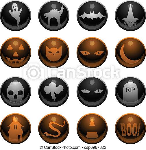 16 Halloween icons - csp6967822