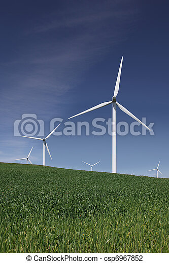White Power Generating Wind Turbines - csp6967852