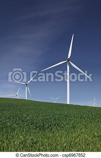 White Power Generating Wind Turbines - csp6967852
