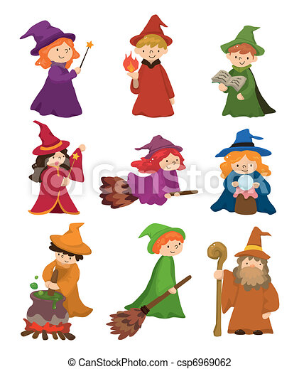 cartoon Wizard and Witch icon set