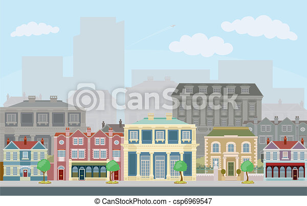 Urban street scene with smart townhouses - csp6969547