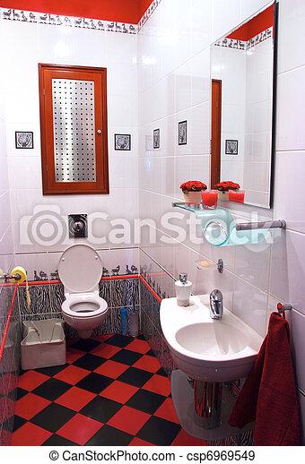 Stock de fotografos de habitaci n moderno ba o negro for Cuarto negro y rojo