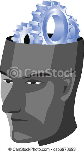 Human head with gear - csp6970693