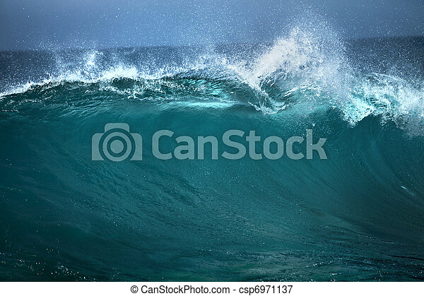 Ocean wave,  good use of white text advertising on blue background  - csp6971137