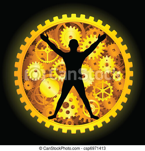 Industrial people with gear - csp6971413