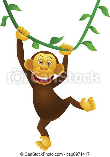 chimpancé, caricatura - csp6971417