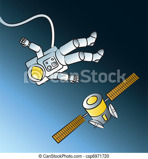 Vector Clipart of Astronaut Spacewalk - Cartoon astronaut ...