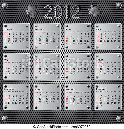 Stylish calendar with metallic  effect for 2012. Sundays first - csp6972053