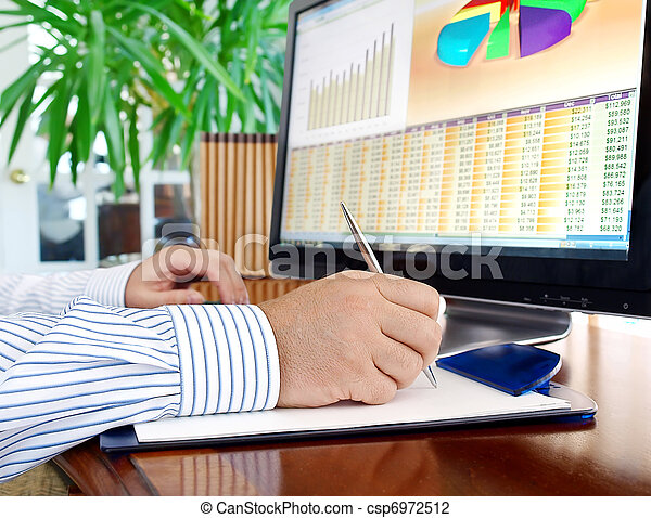 Analyzing data on computer. - csp6972512