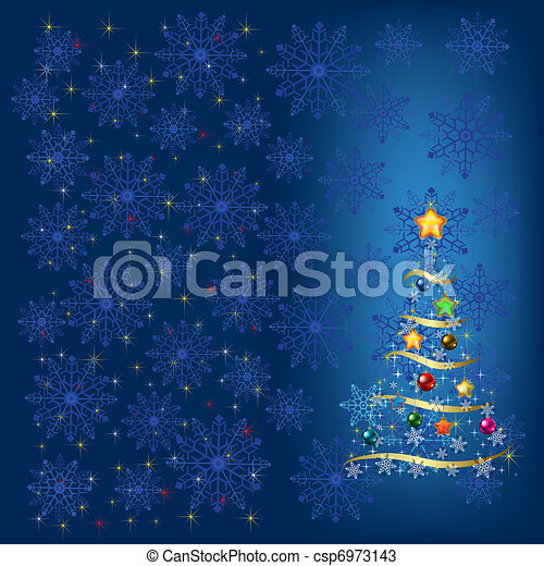 christmas tree with decoration and blue snowflakes - csp6973143