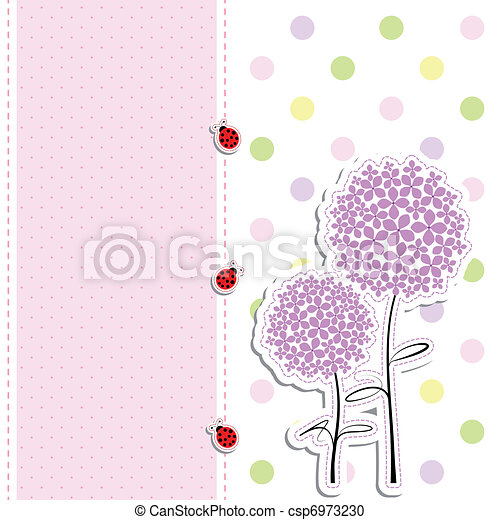 card design purple flower, ladybird on polka dot background - csp6973230