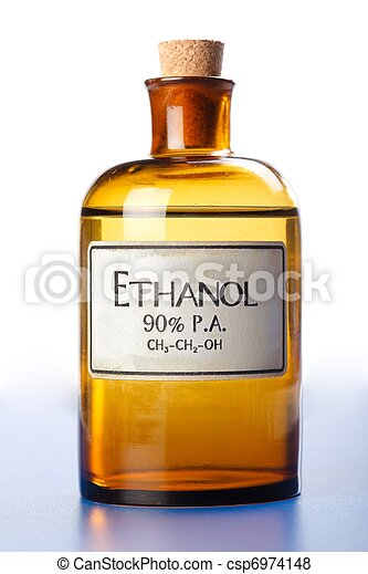 Ethanol, pure ethyl alcohol in bottle - csp6974148