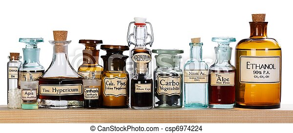 Various pharmacy bottles of homeopathic medicine - csp6974224