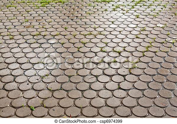 Wet brick floor