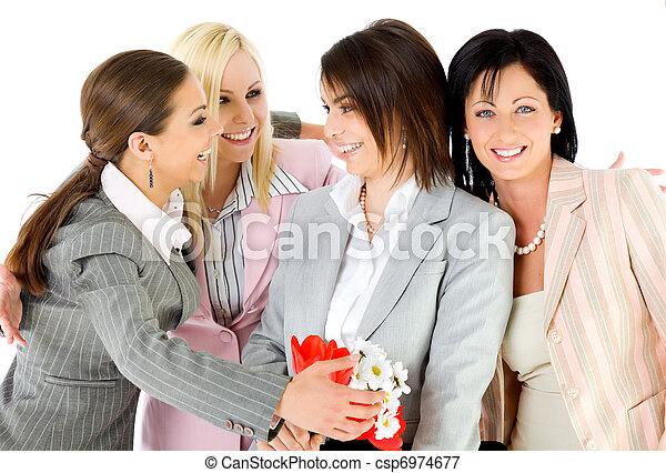 excitement businesswomen hugging - csp6974677