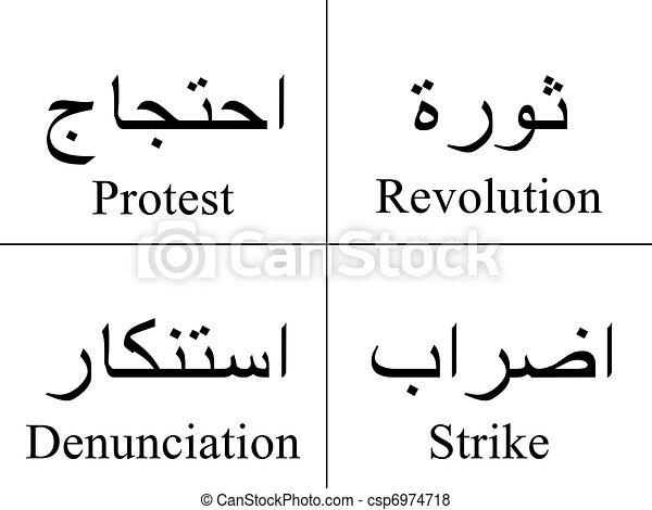 stock illustratie van arabische reactions woorden On arabische woorden