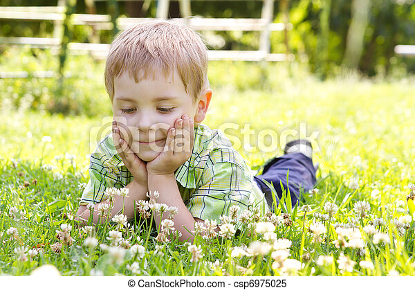 Little boy lying in clover flower field, hands under the cheeks Sunny summer, spring day - csp6975025