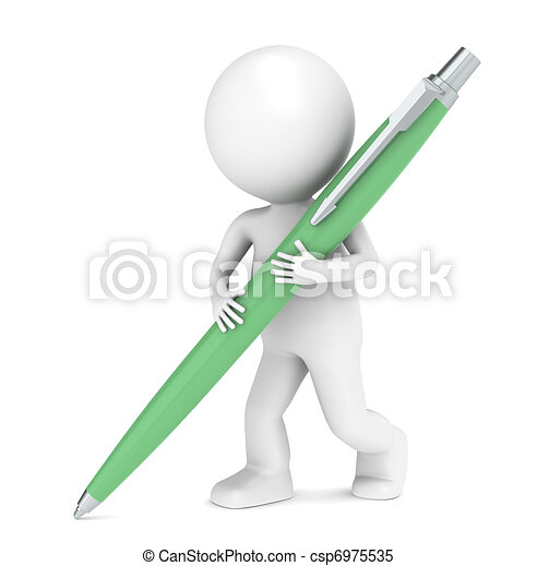 3D little human character writing with a Pen.  - csp6975535