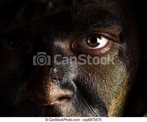 målad, Kamouflage, ansikte - csp6975570