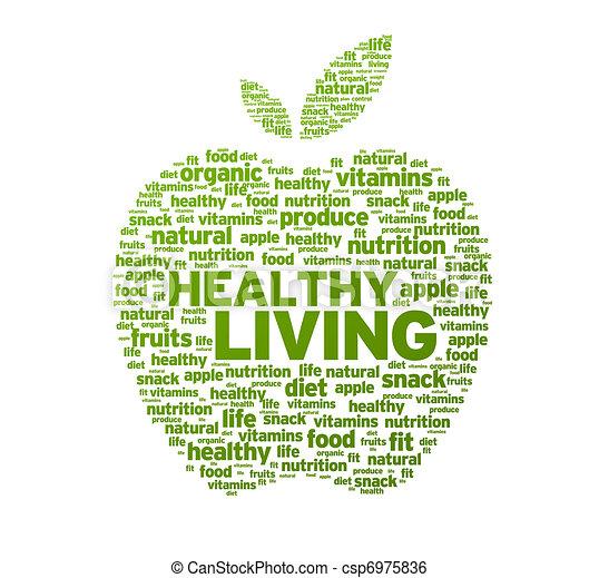 sano, vida, manzana, Ilustración - csp6975836