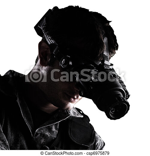 soldier with night vision goggles - csp6975879