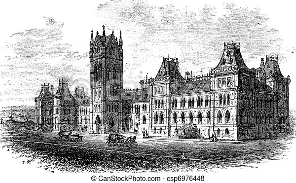 House of Parliament, Ottawa, Ontario, Canada, vintage engraving - csp6976448