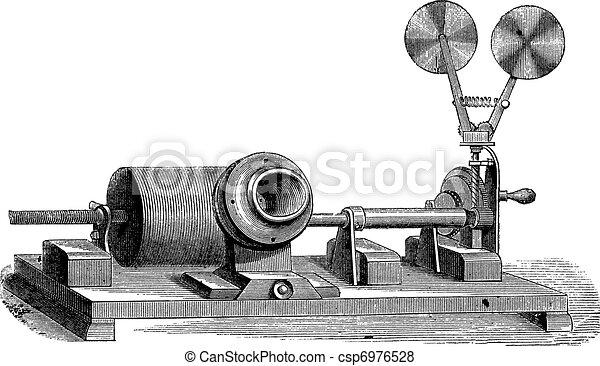 A clockwork gramophone - c, cylinder, m, mouth, vintage engraving - csp6976528