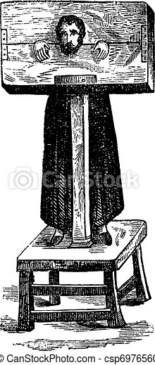 Pillory, after an ancient engraving, vintage engraving. - csp6976560
