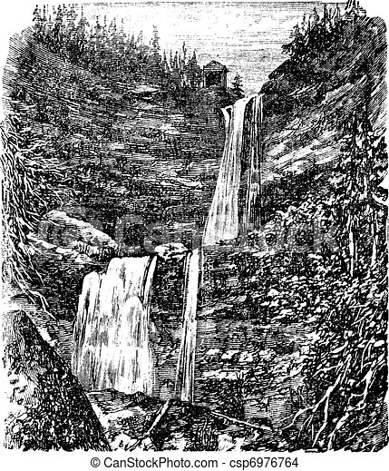 Catskill or Kaaterskill Falls vintage engraving - csp6976764