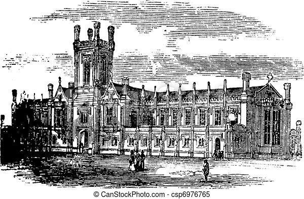 Cheltenham College vintage engraving - csp6976765