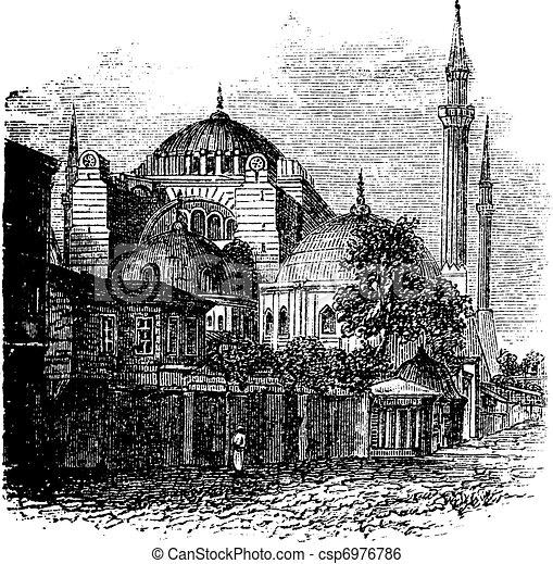 Hagia Sophia in Istanbul, Turkey, vintage engraving - csp6976786