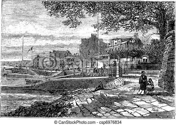 Cowes Harbor in the Isle of Wight, England, United Kingdom, vintage engraving - csp6976834