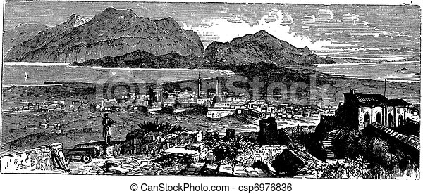 Acrocorinth in Corinth, Greece, vintage engraving - csp6976836