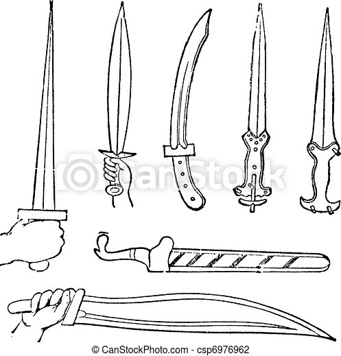 Greek Swords  vintage engraved illustration  Trousset encyclopedia    Greek Sword Drawing