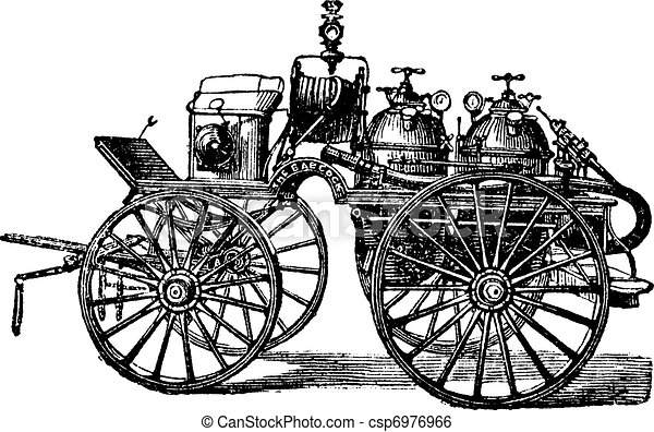 Horse-driven Fire Wagon, vintage engraved illustration - csp6976966