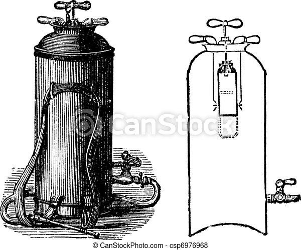 Fire Extinguisher, vintage engraved illustration - csp6976968
