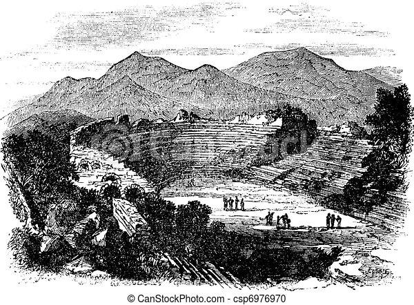 Ephesus in Izmir, Turkey, vintage engraving - csp6976970