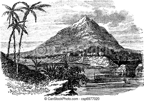 Pico Basile in Bioko Island, Republic of Equatorial Guinea, vintage engraving - csp6977020